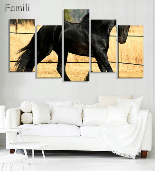 5PCS Cool Running Black Horse Wall Painting Realist Animal Canvas Painting Home Wall Decor Art Print livingroom Hotel Workshop