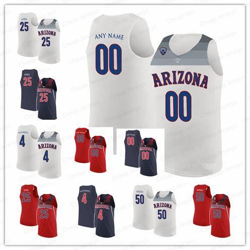 Custom Arizona Wildcats Jerseys 25 Steve Kerr 4 T.J. McConnell 50 Tyler Trillo Customized College Basketball Stitched Jersey