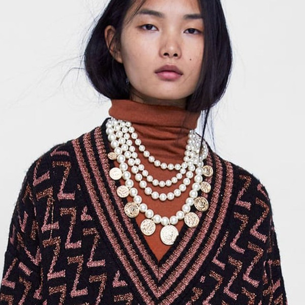 PPG&PGG ZA Simulated Pearl Chain Layered Statement Necklace For Women Bohemian Design Vintage Coin Choker Necklaces & Pendants
