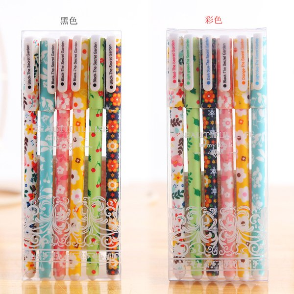 Japan and South Korea stationery cute cartoon black water pen creative small fresh color 6 color gel pen color pen