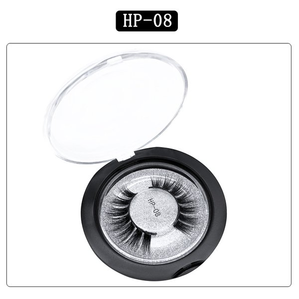 3D mink hair false eyelashes HP08 single pair round box packaging eyelashes Europe and the United States thick natural factory direct sales