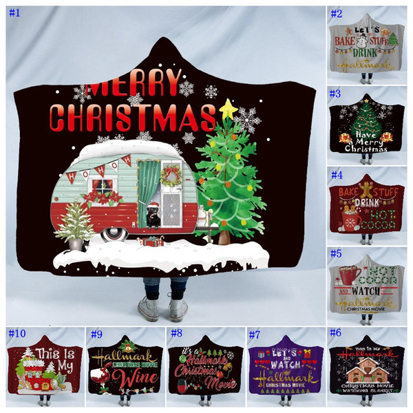 top popular Christmas Winter Wearable Hooded Blanket For Kids Adults Warm Decoration Soft Bed Home Throw Sofa Blankets MMA2391 2019