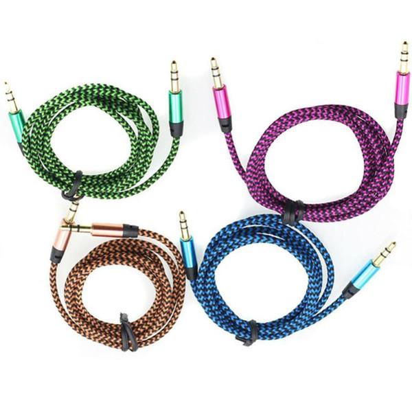Buntes Nylon geflochtenes 1m Audiokabel 3,5 mm Klinkenstecker Auto-AUX-Kabel Stereo-Aux-Audio-Verlängerungskabel für iPhone iPad iPod 220