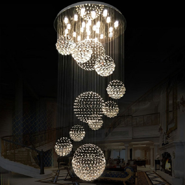 modern large crystal chandelier light fixture for l lobby staircase foyer long spiral lustre k9 crystal ceiling lamp