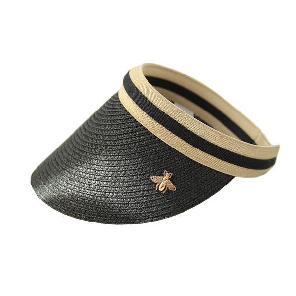 2019 Estate donna dom Cappelli Anti-UV femminile esterno della visiera Caps fatto a mano di paglia del cappello della protezione Ombra casual vuoto tappo Cappello a cilindro Beach
