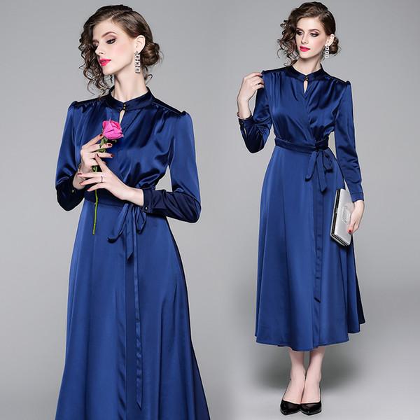 Luxe Design Mode Vintage Robe Printemps Automne Piste Femmes Mock Neck Sash Nœud Big Swing Dress Office Lady Business Party Robes De Bal