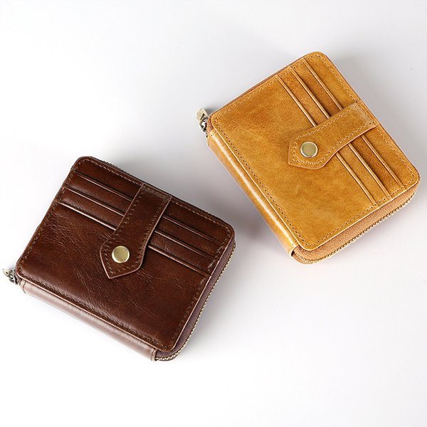 Men's Women's New Fashion Genuine Leather Retro Wax Oil Zipper Clutch Bag Card Wallet Casual Purse Multi-function Wallet