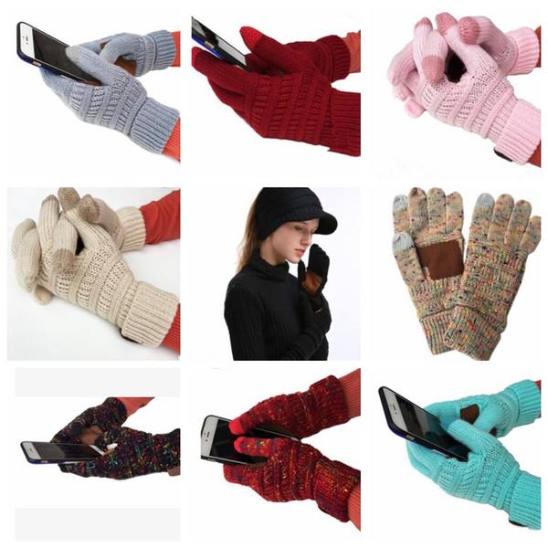 Compre Guantes Llenos De Dedos Knit Winter Warm Antideslizante ...