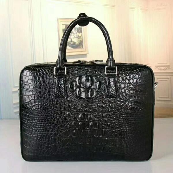 Business Style Echtes Krokodilleder Leder Reißverschluss Herren Große Portfolio Aktentasche Handtasche Männliche Schulter Umhängetasche
