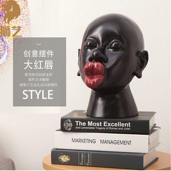 Venta caliente Material de resina africana realista Maniquí negro Venta de la cabeza para la exhibición de joyería y sombrero de peluca