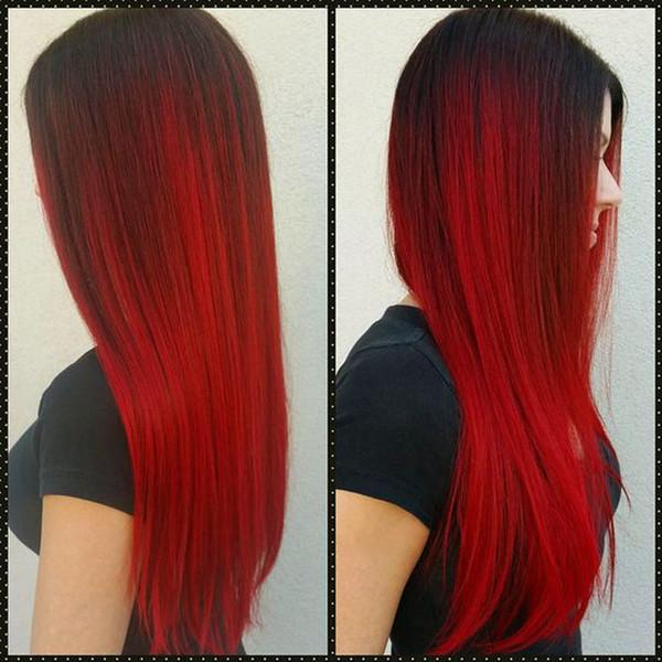 9A Ombre reines Haar bündelt brasilianische gerade menschliche Haar-Webart-Zwei-Ton-Einschlagfaden 1B Brown-Rot-Blau-Purpur brasilianisches preiswertes Ombrehaar