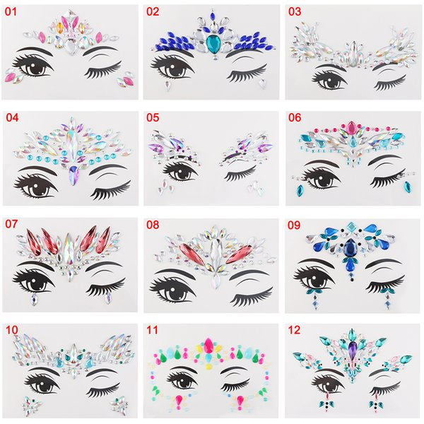1Pcs Face Jewelry Festival Party Stage Makeup Eyes Gems Rhinestone Flash Temporary Tattoos Body Art Stickers Make up Beauty Tool