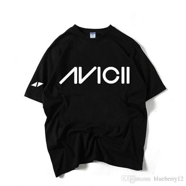Dj Avicii Baskılı T Shirt Erkekler Için Siyah Ve Beyaz Kısa Kollu Tees Vogue Moda Günlük Giyer