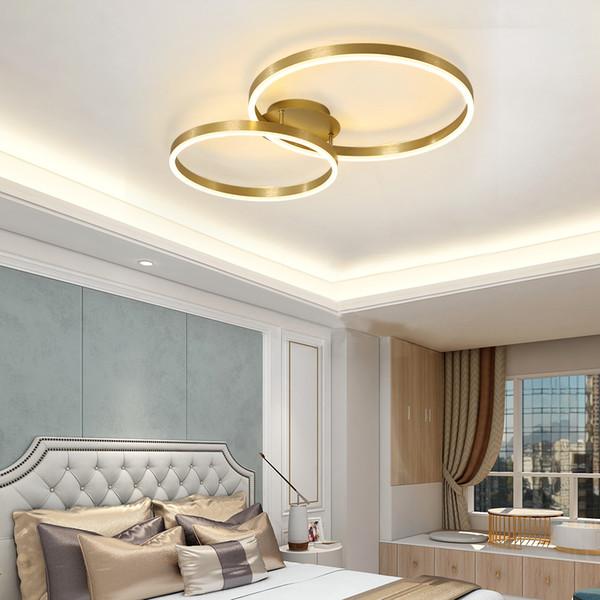 Großhandel Moderne LED Deckenleuchte Im Schlafzimmer Wohnzimmer Beleuchtung  Edelstahl Gold Runden Ring Nordischen Design Lampe Projekt Koryphäe Von ...