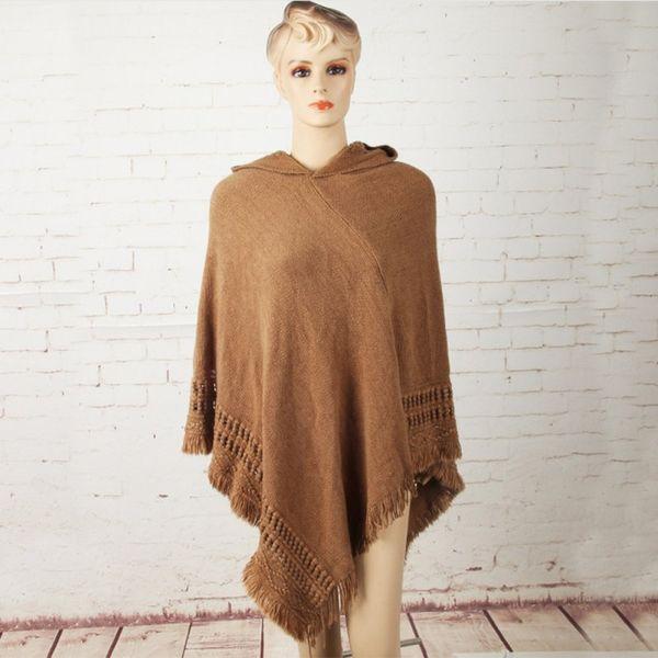 Fashion Tassel Lady Women Knitted Poncho Irregularity Sweep Hoodde Coat Sweater Outwear