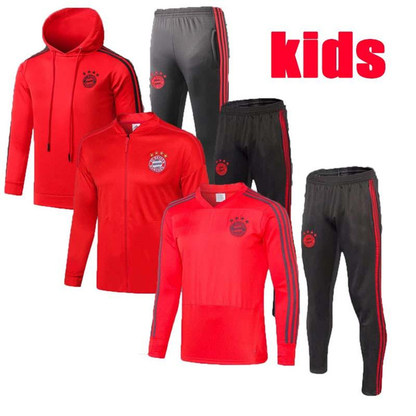 19 20 kids kits Bayern Munich soccer jacket tracksuit 2019 2020 Survetement VIDAL LEWANDOWSKI MULLER ROBBEN JAMES full zipper Training suit