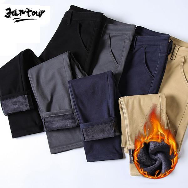 erkekler kadife iş Siyah, gri Mavi Düz Çalışma pantolonlar Yeni Erkek Kış Polar sıcak Pantolon erkek Casual kalın Pantolon CJ191201 Homme