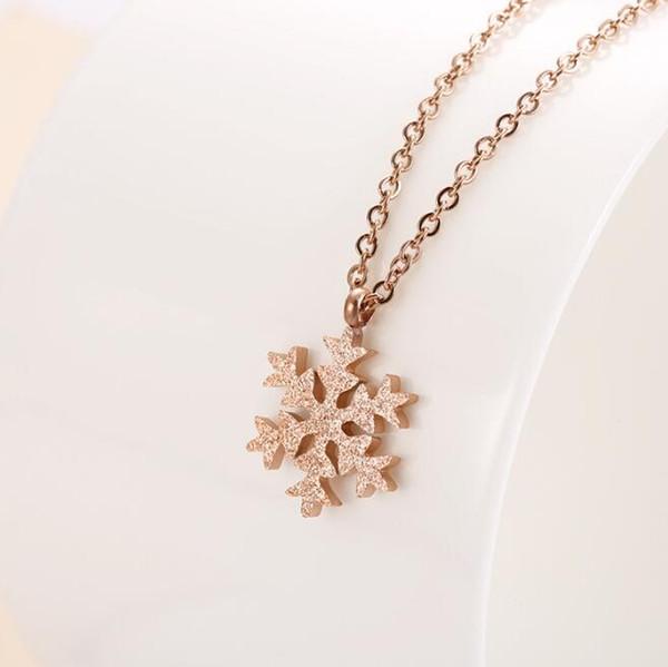 High Polishing Women Fashion Stainless Steel Shiny Snowflake Pendant Necklace 18K RoseGold 316L Sand Blasted FLower Lady Necklace Jewelry
