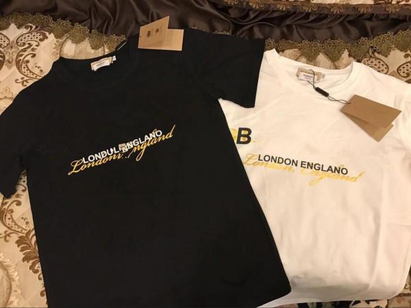 2019 frete grátis Primavera Verão Marca T Shirt Mulheres Tops Imprimir T-shirt de Algodão de Manga Curta Tshirt Mulheres Homens Tops tees 4 cores