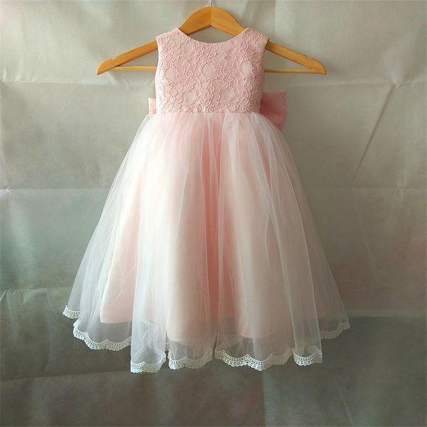 Venda quente Vestidos Da Menina de Flor com Arco para o Casamento Branco / Marfim / Festa de Aniversário Cor-de-rosa Comunhão Pageant Vestido Meninas Pequenas Crianças / Crianças vestido