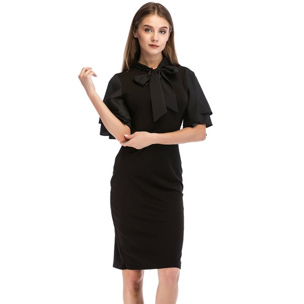 evening dresses for women ruffle sleeve bow knot slim elegant lady party prom cocktail summer simple Black dress 8653
