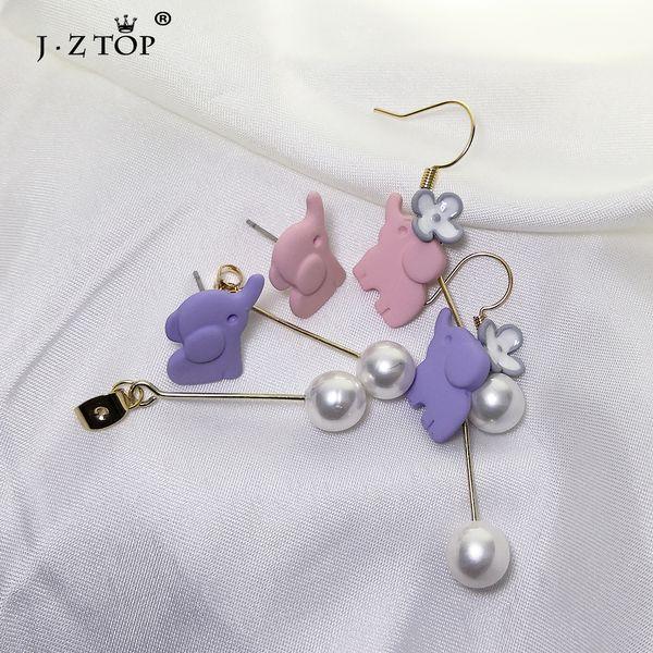 2019 Cute Elephant Imitation Pearl Stud Earrings Long Flower Pendant Earrings For Women Girls Party Fashion Jewelry Gift
