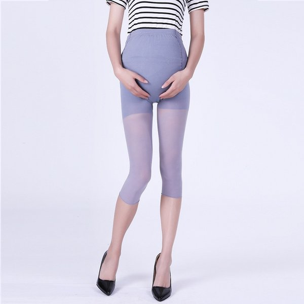 Maternity Seven Point Leggings 20D Ultra-thin Silky Texture Solid Color Pregnant Women Shorts Stomach Lift Adjustable Waist 48