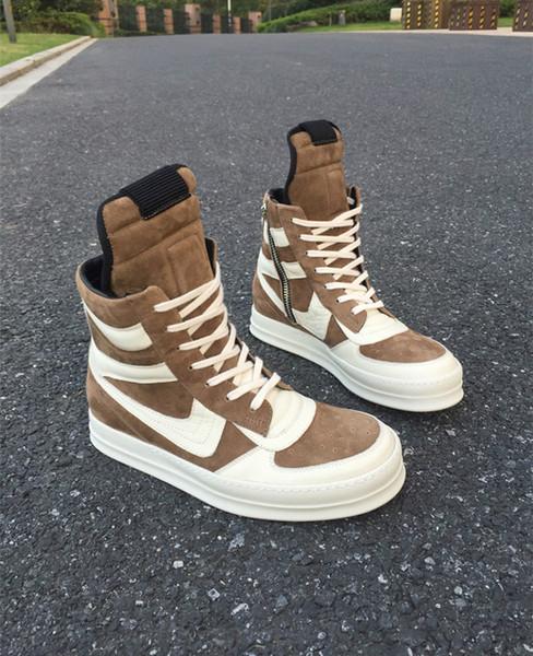 alta esclusiva di fascia alta limitata personalizzata superiori di pelle scamosciata marrone vera pelle cesto RUNNER scarpe Hi-Street BootZ07 top
