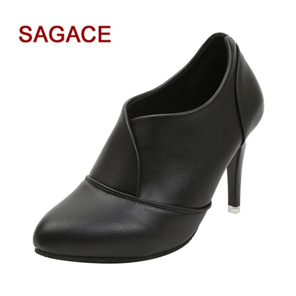 HB@SAGACE Women Ponited Toe Shoes Pure Color Slip-On Boots Hight Heel Single Shoes dropship