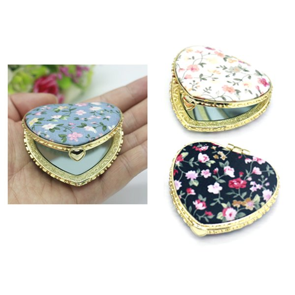 1 Pcs Mini Pocket Mirror Retro Makeup Double Sided Folding Mirror Flower Make-up Portable Christmas Gift 3 type