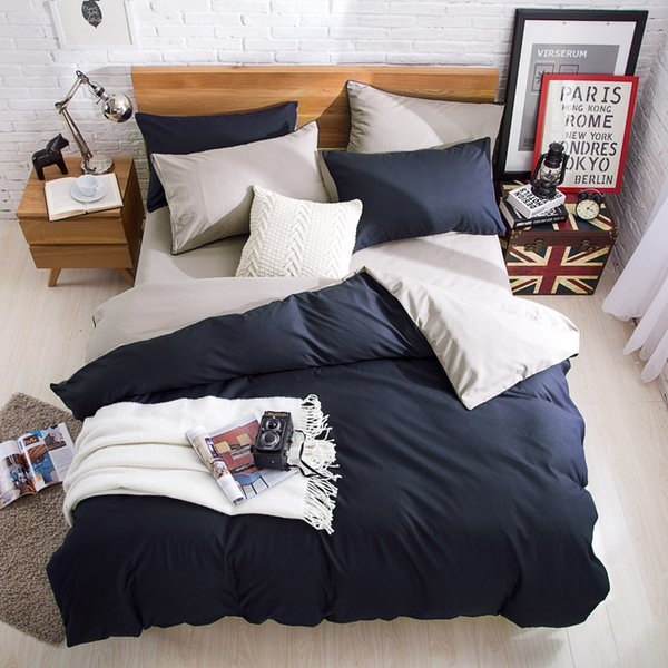 Side Bedding Set Super King Duvet Cover Set Dark blue +beige 4pcs BedClothes Adult Bed Set Man Duvet Flat Sheet