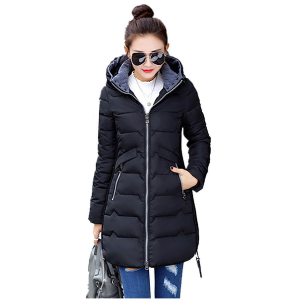 New Wadded Winter Jacket Women Cotton Long Jacket Fashion 2019 Girls Padded Slim Plus Size Hooded Parkas Stand Collar Coat