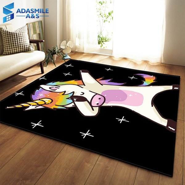 Nordic 3D Unicorn Carpets Cartoon Animal Bedroom Kids Play Mat Soft Flannel Memory Foam Big Area Rugs Carpet for Living Room