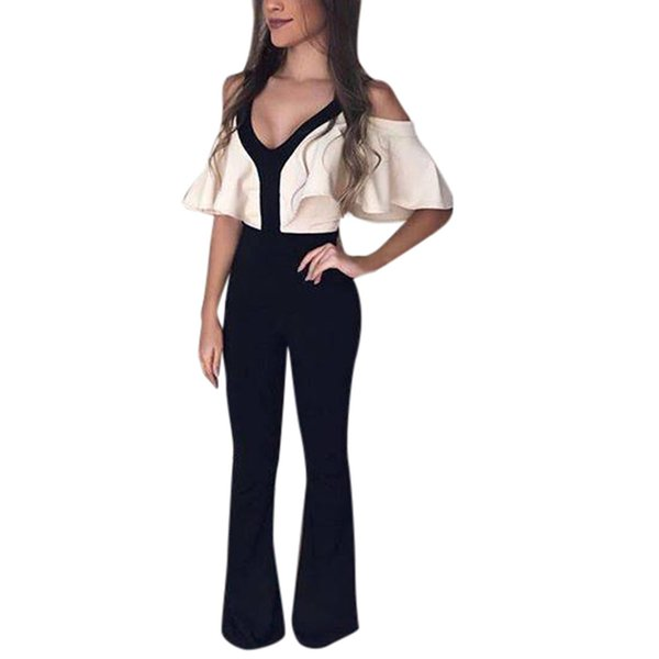 Bodysuit sexy Womens V-Neck Cold Shoulder Backless Jumpsuit Stretchy Bodycon Frill Stitching color bell sleeve Romper 2019