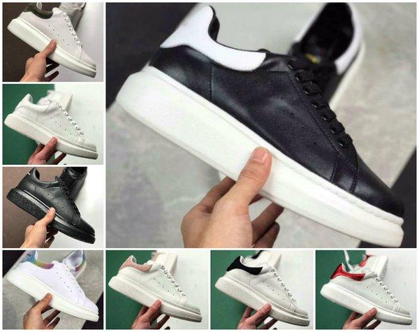 Yüksek Kaliteli 2019 Tasarımcı Ayakkabı Moda Lüks Kadın Ayakkabı erkek Deri Lace Up Platformu Boy Sole Sneakers Beyaz Siyah Rahat ayakkabılar