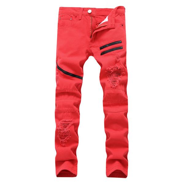 2019 mode high street männer jeans reißverschluss knie zerlumpte loch männlich club denim stoff elastische dünne zerrissene hose 7.12