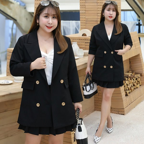 New Plus Size XL-4XL Lady Skirt Suits Two Pieces OL Suits Skirt+Blazers Spring/Autumn Above Knee Long Sleeve Fat Office Sets