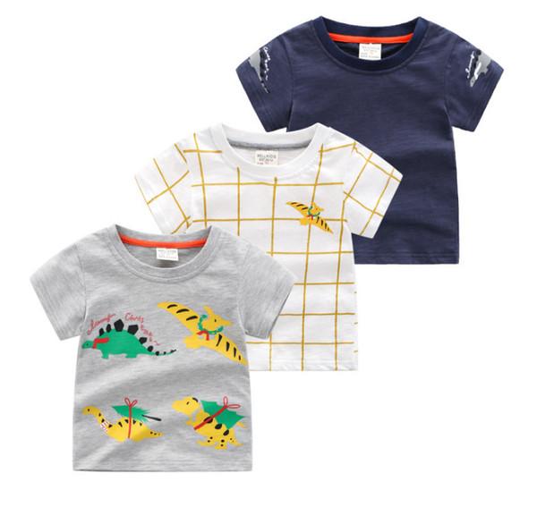 Boys plaid T-shirt kids dinosaur printed T-shirt children round collar short sleeve casual tops 2019 summer kids cartoon clothes F6535