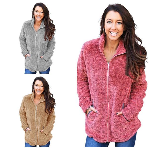 Femmes Doux Polaire Hoodies Zipper Sherpa Sweats Automne Hiver Chandail Chaud Cardigan Casual Solide Sweat À Capuche Veste Dames Top Vêtements 2019