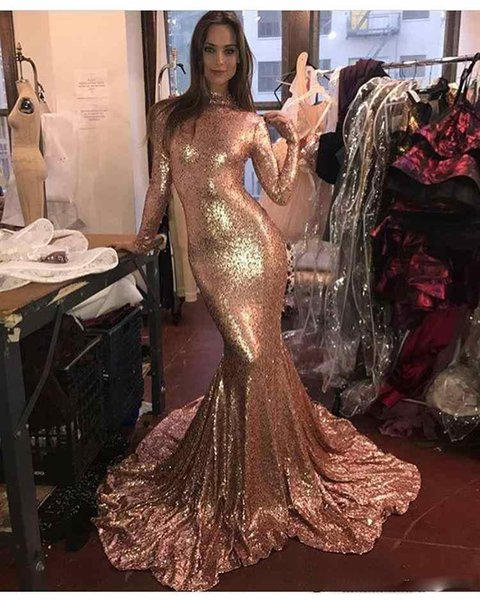 2019 Stunning Gold Sequined Mermaid Prom Dresses High Neck Long Sleeves Simple Sweep Train Plus Size Custom Formal Evening Wear Party Gown