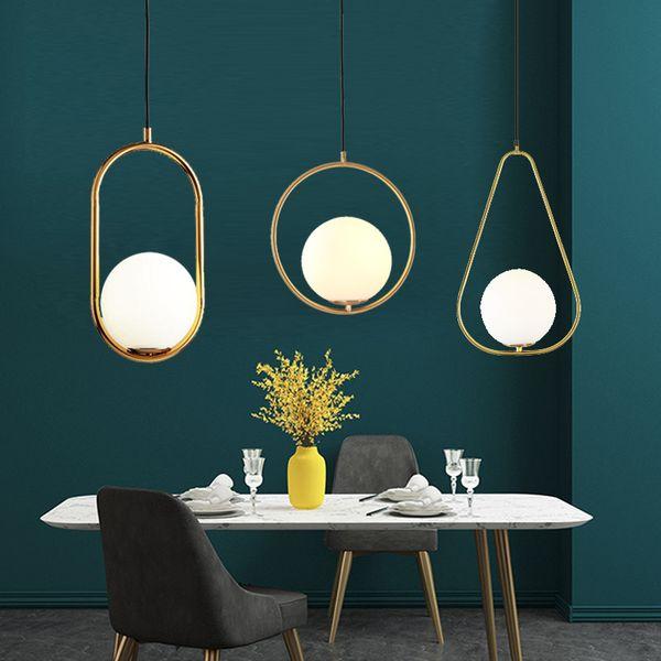 Dropshipping Nordic Люстра Минималистский Art LED люстры повесить стеклянный шар Гостиная Спальня Ресторан Бар Освещение для дома