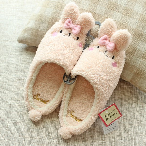 918c0b90774 Women Winter Home Slippers Cartoon Cat Rabbit Home Shoes Non-slip Soft  Winter Warm