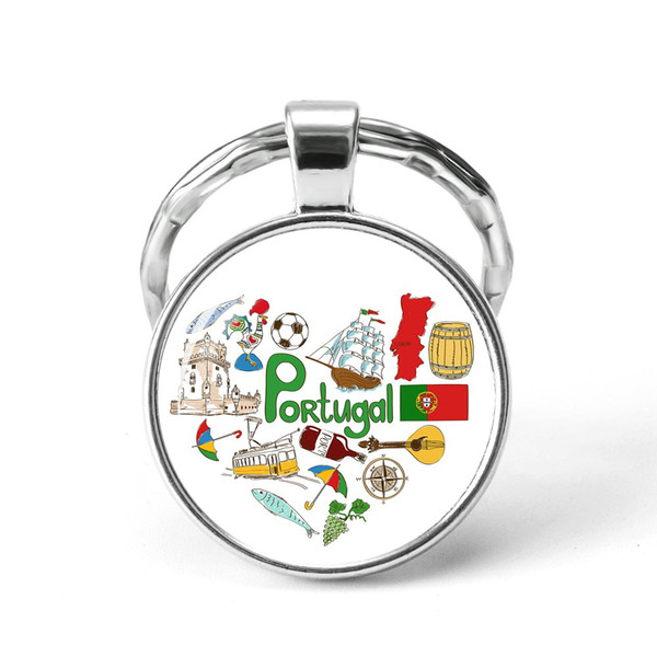 Style1 Quotes Jewelry Ethnic Style Keychain Russia USA France Italy Finland Indianationality Keyring Glass Cabochon Keyring Keychain