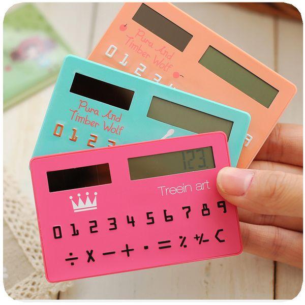 1pcs/lot Korea Stationery Card Portable Calculator Mini Handheld Ultra-thin Calculator Solar Cute Calculatrice Hesap Makinesi