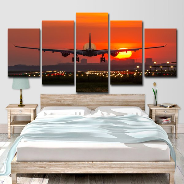 HD Printed 5 Piece Canvas Art Plane Red Sunset Painting Landscape Poster Wall Pictures For Home Decor