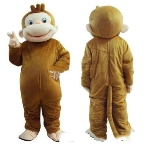 2018 Factory direct sale Curious George Monkey Mascot Costume Fancy Birthday Party Dress Halloween Carnivals Costume