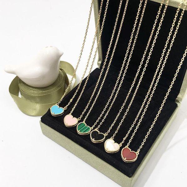 Мода Натуральный агат медь любовь ожерелье в форме сердца кулон кружева черный персик ожерелье женщины простые женские ожерелья ювелирные изделия оптом