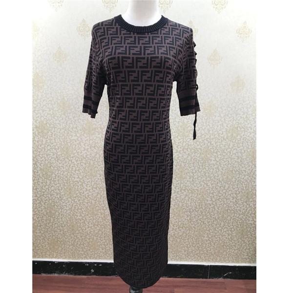 Женщины дизайнер трикотажные платья летняя мода роскошные письма Марка длинные рукава платья ремни лук с коротким рукавом платье повседневная дамы платье