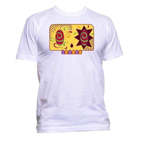 Sugar Skull, diseño de color amarillo, camiseta para mujer para hombre, moda unisex, eslogan, diversión, discout, camiseta nueva y caliente
