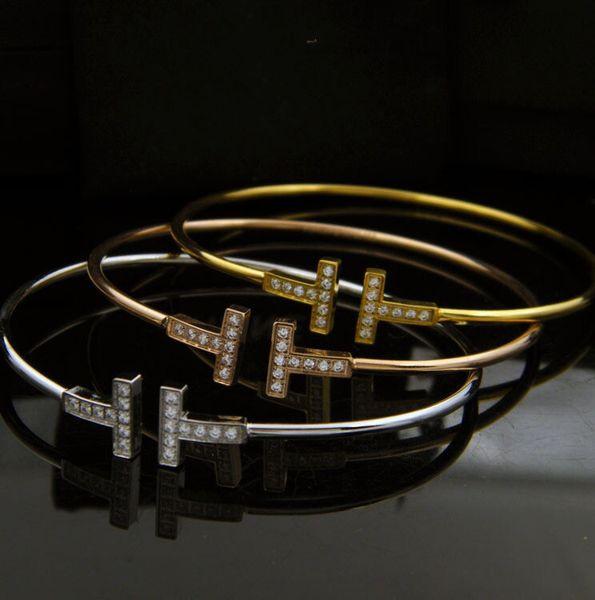2019 Classic Double T Letter Simple Graph Fine Rim Diamond Titanium Steel Bracelet Simple Fashion OL Delicate rose gold Bracelets for woman